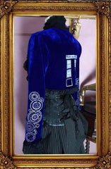 Dr Who Tardis Galifrey language screen printed blue stretch velvet cosplay bolero made in Australia, side back view