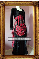 red stewart tartan victorian bustle skirt worn over a black satin full length skirt and with matching corset, black bolero shown from the side front view
