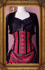 up close front view of the Victorian Punk under bust corset in red stewart tartan trimmed with black velvet ribbon