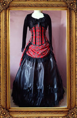 front view of the victorian punk corset ball gown in red stewart tartan fabric