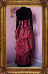 red stewart tartan victorian bustle skirt with matching corset and black bolero shown from the back view