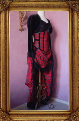 Victorian Punk Red Tartan Under Bust Corset