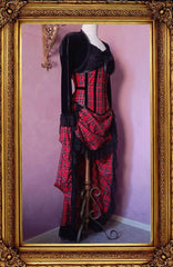 red stewart tartan victorian bustle skirt with matching corset and black bolero shown from the side front view on a mannequin