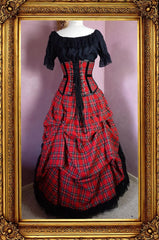 back view of the victorian punk corset ball gown in red stewart tartan fabric