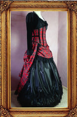 side view of the victorian punk corset ball gown in red stewart tartan fabric