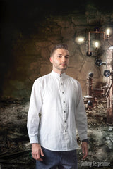 timeless victorian era men's shirt in 100% white cotton true to the design and pattern of the old west era late 1800s