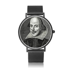 front view of the Shakespeare digital printed 8mm thick stainless steel watch, water resistant in black