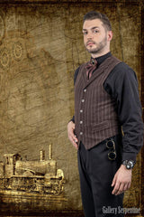 Tombstone Tycoon gothic western authentic 1800s style mens vest from walnut striped fabric
