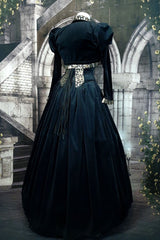 back view full length of the australian made gothic tudor gown in black and gold, made to measure