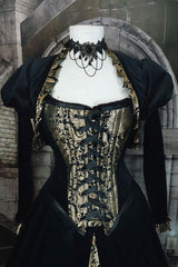 close up of the front of the corset, size 12-14 in the gothic gold and black tudor gown made in Australia