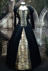 gothic tudor gown in black velvet and gold sari silk brocade fit for a Queen, made in Australia