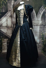 side front view of the gothic tudor black and gold corset gown from Gallery Serpentine