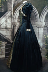 side view of gothic victorian tudor corset gown in black velvet and gold silk brocade