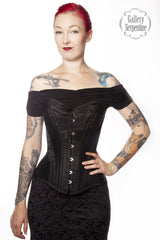 Ebony Turn of the Century over bust with cups steel boned corset made in Australia