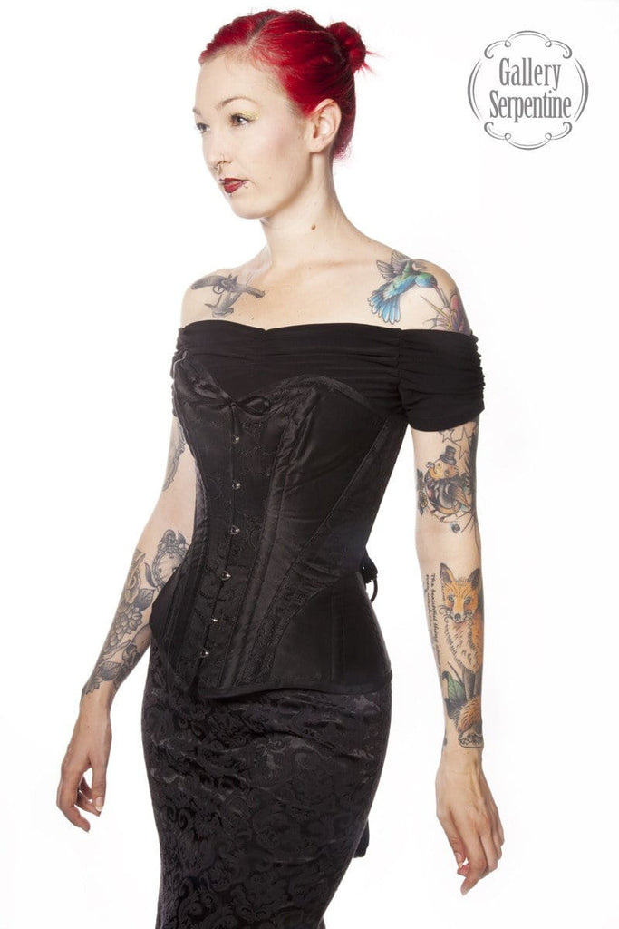 6ccd6b064c0 Ebony Turn of the Century tight lacing over bust steel boned corset with  bust cup