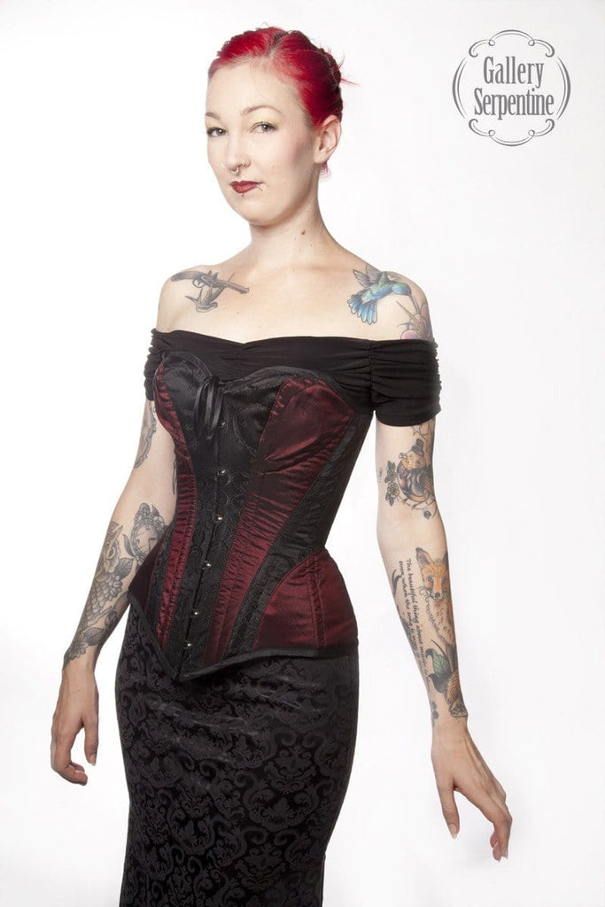 51c02fe795 side view of the gothic victorian and steampunk over bust steel boned corset  made to measure