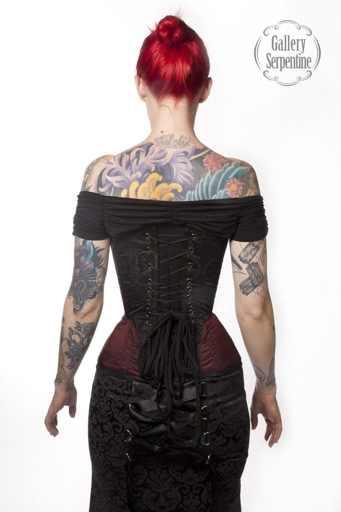 80737cc94c back view of the gothic victorian and steampunk over bust steel boned corset  made to measure