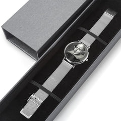 showing it in a nice gift box is the Shakespeare digital printed 8mm thick stainless steel watch, water resistant in silver colour
