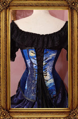 full back view showing lacing of the blue toned Tardis and Starry Night Van Gogh over bust corset made in Australia Gallery Serpentine Corsetry