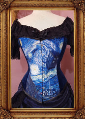 full front view of the Tardis and Starry Night Van Gogh over bust corset made in Australia Gallery Serpentine Corsetry