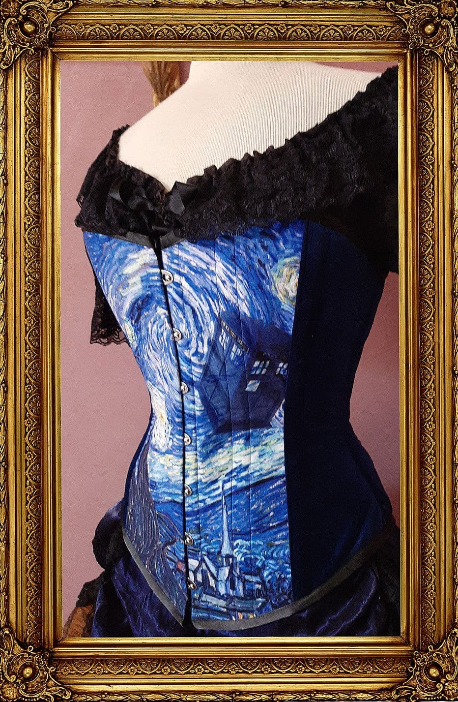 Tardis and Starry Night Van Gogh over bust corset made in Australia Gallery Serpentine Corsetry