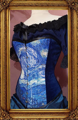 side front view of the new van gogh starry night print on an over bust steel boned corset made in Australia