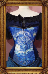 van gogh starry night print on an over bust steel boned corset made in Australia
