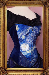 side front view of the steel boned Tardis and Starry Night Van Gogh over bust corset made in Australia Gallery Serpentine Corsetry