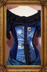 back view showing corset lacing of the van gogh starry night print on an over bust steel boned corset made in Australia