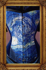 close up on the front of the van gogh starry night print on an over bust steel boned corset made in Australia