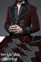 up close detail of the burnt velvet collar & cuffs and the amazing oriental clasps on the Velvet Diablo Tailcoat - a blood red vampire gothic tailcoat from PunkRave