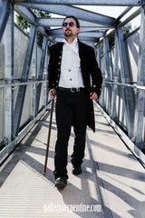 victorian looks model wearing white aristocrat gothic steampunk formal mens shirt