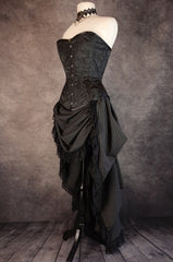 Victorian Bustle skirt in a double stripe wool blend pinstripe worn with a black brocade over bust corset all made in Australia