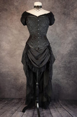 full front length view on a dressmaker's form of the Victorian Bustle skirt in a double stripe wool blend pinstripe worn with a black brocade over bust corset all made in Australia