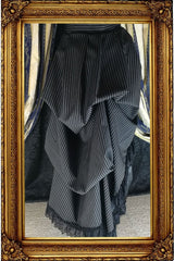Victorian Bustle Skirt, Black Double Stripe, S