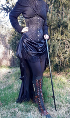 gothic victorian black sateen lace trimmed high low bustle skirt with adjustable waist sizing made in Australia for Gallery Serpentine
