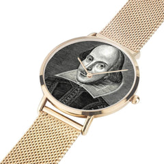 Shakespeare digital printed 8mm thick stainless steel watch, water resistant in rose gold