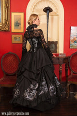 Black gothic Tudor baroque bridal gown by Gallery Serpentine made to measure