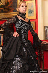 handmade & made to measure black gothic bridal gown featuring a Tudor corset
