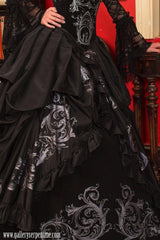 Black gothic baroque corset gown inspired by the baroque period