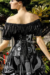 back view of the wild wild west model wearing the gothic steampunk model wearing the elegant silvery steampunk cogs and gears printed under bust versatile corset shape for all figure types