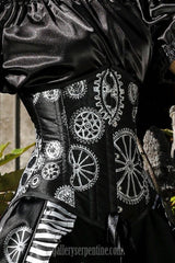 elegant silvery steampunk cogs and gears printed under bust corset. Most versatile corset shape