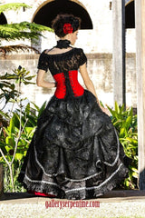 red rose gothic wedding gown with black lace over bustle