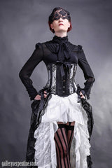 very detailed black georgette gothic victorian under corset blouse on sale