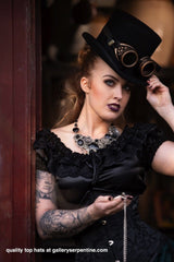 gothic victorian or steampunk victorian top hat that suits women, mid crown height available now from Gallery SErpentine