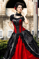 top quality custom made gothic wedding dress made in Sydney to measurements, flattering overbust corset included