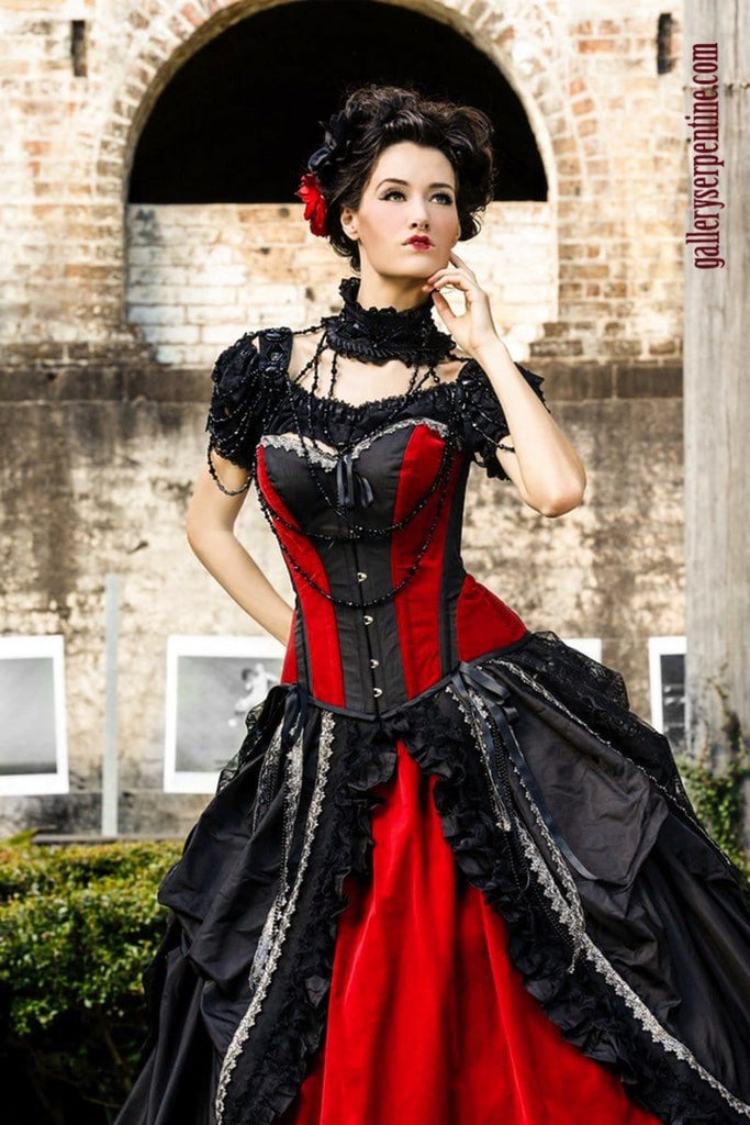 quality custom made gothic wedding dress | red velvet black silk ...