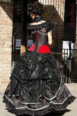 Black lace bustle on made to measure quality gothic corset wedding dress