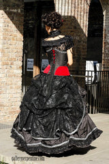 elegant black & red gothic wedding dress back view of black lace bustle