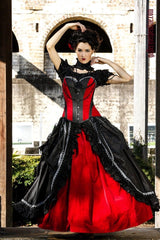 custom made in Australia red velvet black silk gothic wedding dress